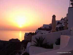 Oia is famous for sunsets (taken from our patio)
