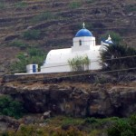 A Santorini church overlooking the vineyards and sea ... ideal!