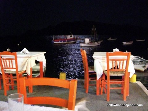 Portside dining at Ammoudi Port