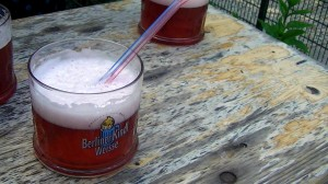 Berliner Weisse with raspberry liqueur at a biergarten in the Tiergarten