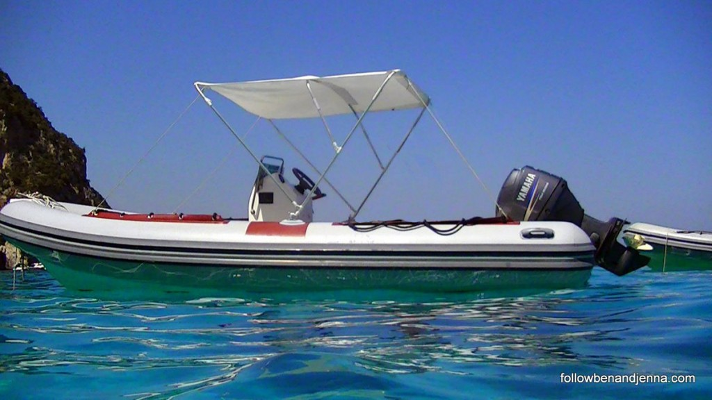 "Our ""gommone"" (rented boat) on the Gulf of Orosei"