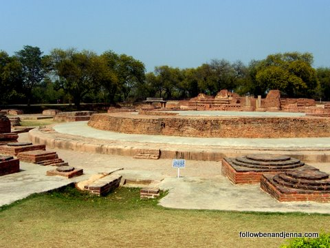Excavated temple ruins at Sarnath