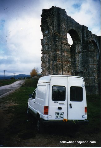 A furgoneta (small van) in Spain near a Roman Aqueduct