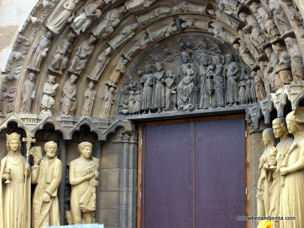 Ecclesia and Synagoga, the closest statues on each side, seen at the Our Lady Church in Trier, Germany