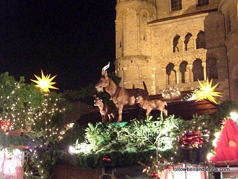 The backdrop of medieval architecture at the Trier Christmas Market