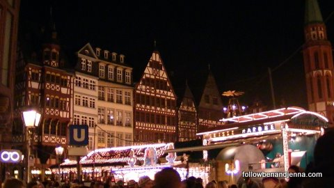 The Römerberg of Frankfurt during the Weihnachtsmarkt (Christmas market)