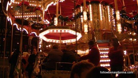 A double decker carousel at  Frankfurt Weihachtsmarkt (Christmas market)