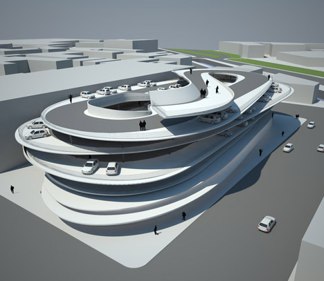 Rendering of Zaha Hadid's Miami Beach parking garage at Collins Park