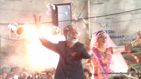 Performers in Udaipur's central square, festival of Holi