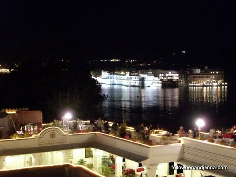 Lake Pichola glistens at night: Udaipur
