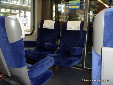 First class regional Swiss train cabin