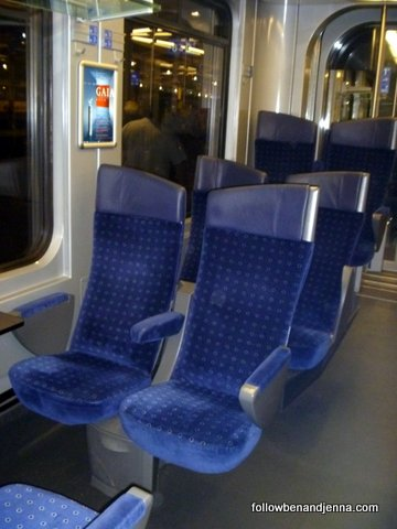 Swiss regional train second class cabin