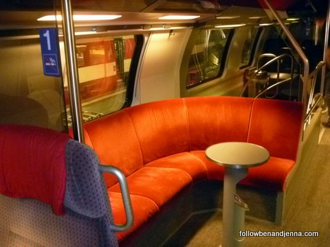 The lounge areas on these Swiss intercity double-decker trains are oh-so-Studio-54
