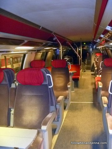 First class cabins on Swiss intercity trains