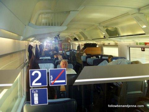 Second class German train seats