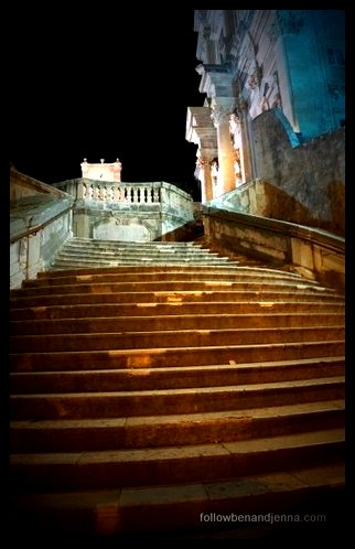 Night view of stairs to Jesuit Church of St. Ignatius of Loyola, Dubrovnik