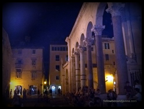 Crowds gather in Split to hear musicians near the entrance to Diocletian's private residence