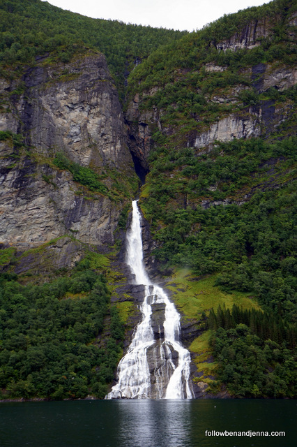 The suitor waterfall of Geirangerfjord Geiranger fjord is shaped like a bottle