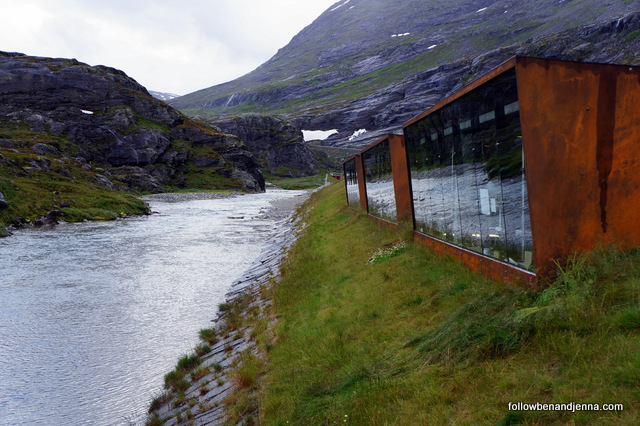Trollstigen architecture river reflected in glass