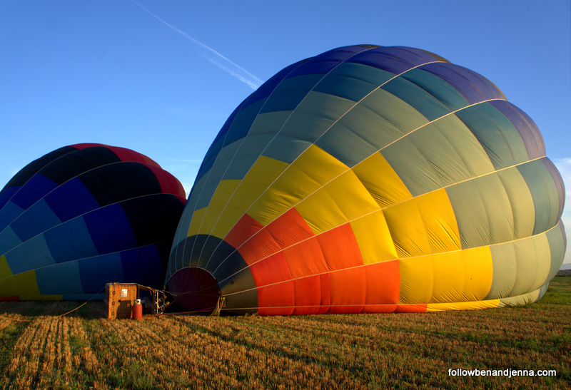 Hot air balloons in the Emporda region of Costa Brava, Spain