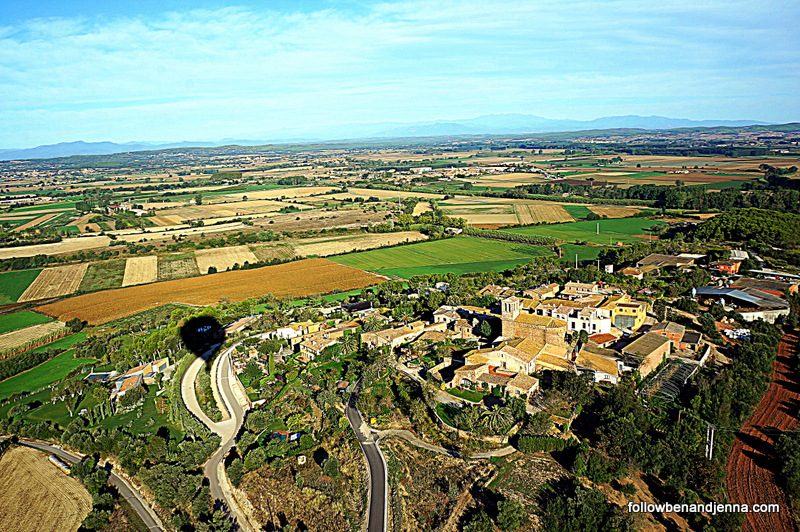 View from hot air balloon of Emporda region of Costa Brava Spain Catalunya