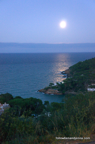 Costa Brava coastline by night
