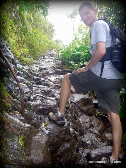 Hiking the steep, slippery Na Pali trail