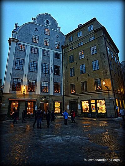 Leaning buildings in Gamla Stan, Stockholm, Sweden