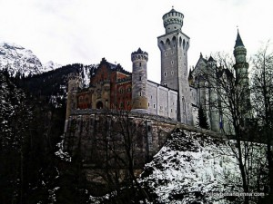 Neuschwanstein castle in winter from below