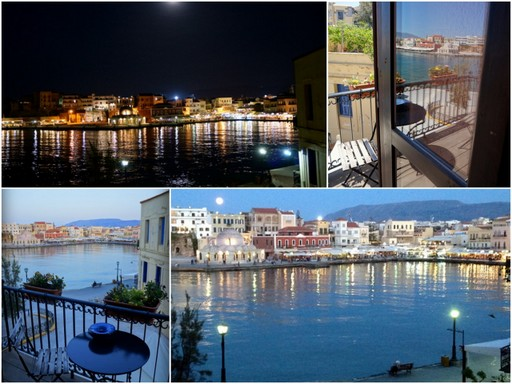 Collage of photos of the Old Venetian Port of Chania Crete