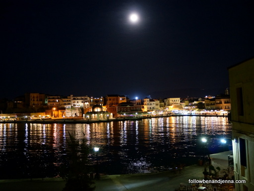Moon over Hania Venetian Harbor Chania Crete Greece