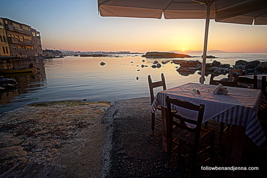 View from Thalassino Ageri restaurant in Chalepa Chania Crete