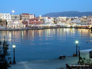 moon Venetian Harbor Chania Hania Crete Greece