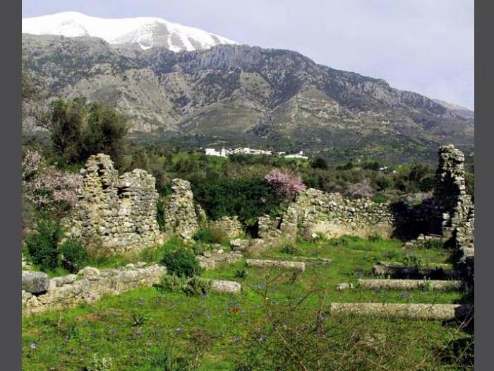 Rethymno Crete mountains blossoms white village