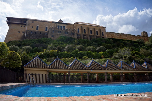 Pool view of the Parador de Carmona, Spain