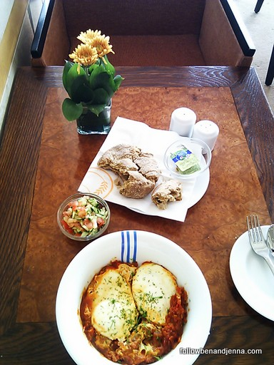 Shakshuka, a popular breakfast in Tel Aviv (poached eggs with spicy tomato sauce)