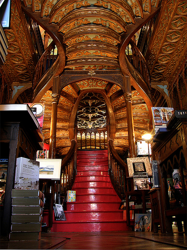 Lello e Irmao bookstore staircase Oporto Porto Portugal