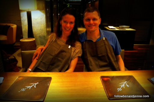 Arming ourselves with bibs in preparation for a great teppanyaki meal